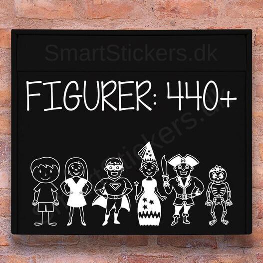 Sammensæt din postkasse sticker familie med over 440 figurer