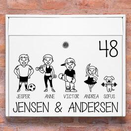 Sport familie - Postkasse stickers