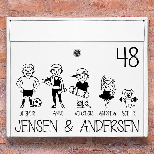 Sport familie – Postkasse stickers