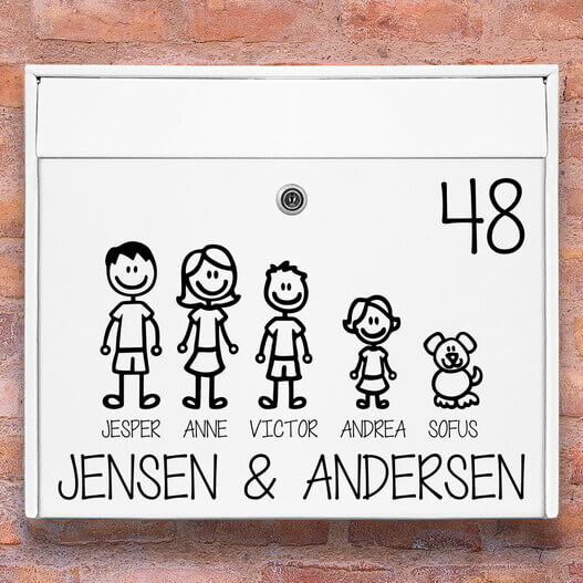 Tændstik familie – postkasse stickers